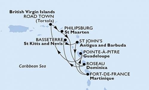 Martinica, Guadalupa, Tortola, St Maarten, Dominica, St Kitts e Nevis, Antigua e Barbuda