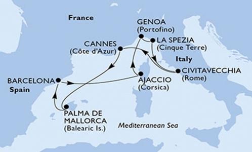 Francia, Isole Baleari, Spagna e Corsica